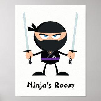 Personalized Purple Belt Ninja Warrior Two Katana Poster