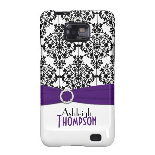 Personalized Purple, Black, White Damask Samsung Galaxy S Covers