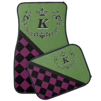 Personalized Purple Blck Checkerboard Crown Flrish Car Mat