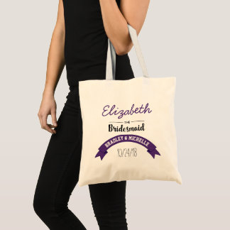 Personalized Purple Bridesmaid Wedding Tote Bag