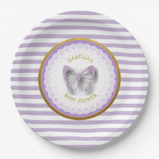 Personalized Purple Butterfly Baby Shower Plates