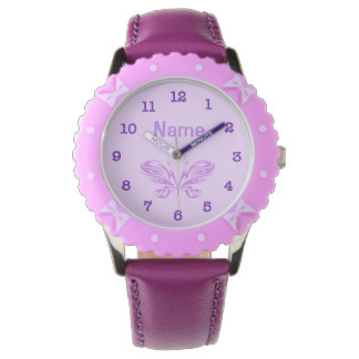 PERSONALIZED Purple Butterfly Kid Watches Girls