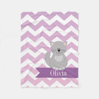 Personalized Purple Chevron Cat Fleece Blanket