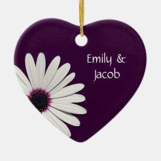 Personalized Purple Daisy Heart Ornament