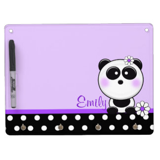 Personalized Purple Daisy Panda Dry Erase Board