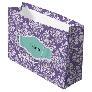 Personalized Purple Damask Gift Bag