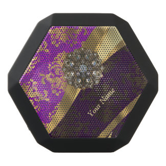 Personalized purple damask pattern black bluetooth speaker