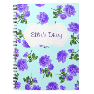 Personalized Purple english roses blue notebook