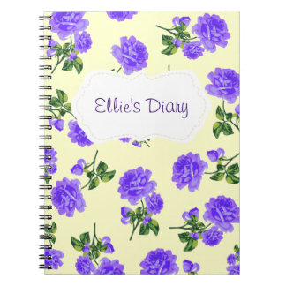 Personalized Purple english roses cream notebook