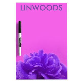 Personalized Purple Floral Dry Erase White Board