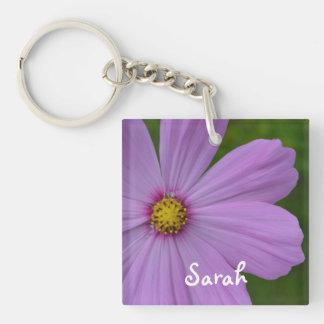 Personalized Purple Flower Keychain