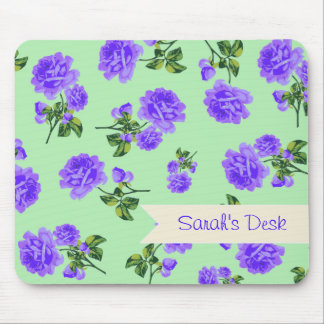 Personalized purple flowers on shabby chic green mouse pad