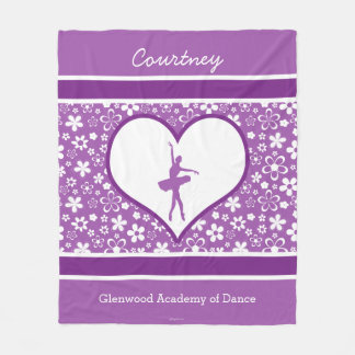 Personalized Purple Flowers Pattern Ballet Dancer Fleece Blanket