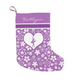 Personalized Purple Flowers Pattern Ballet Dancer Small Christmas Stocking