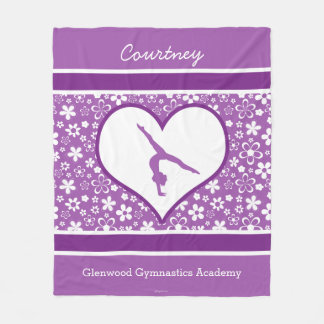 Personalized Purple Flowers Pattern Gymnastics Fleece Blanket