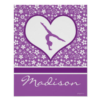 Personalized Purple Flowers Pattern Gymnastics Poster