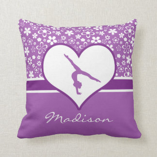 Personalized Purple Flowers Pattern Gymnastics Throw Pillow