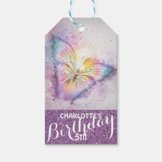 Personalized Purple Glitter  Butterfly Birthday Gift Tags