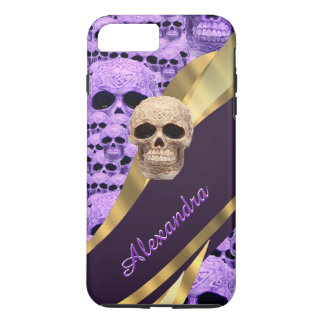 Personalized purple gothic skull iPhone 7 plus case
