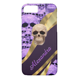 Personalized purple gothic skull iPhone 8/7 case