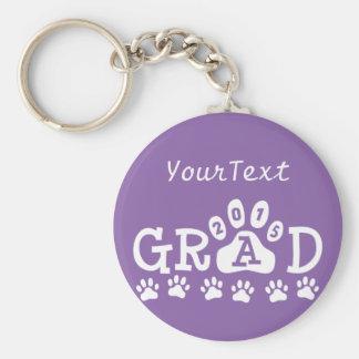 Personalized Purple GRAD 2015 PAWS Graduation Basic Round Button Key Ring