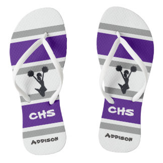 Personalized Purple & Gray Cheerleader Flip Flops