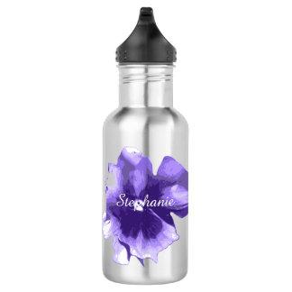 Personalized Purple Iris Water Bottle