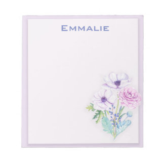 Personalized Purple / Lavender Floral Notepad