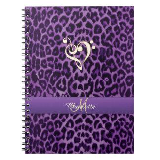 Personalized Purple Leopard Music Heart Notebook