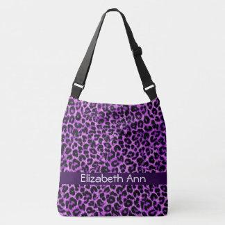 Personalized Purple Leopard Pattern Crossbody Bag