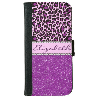Personalized Purple Leopard Print Glitter iPhone 6 Wallet Case