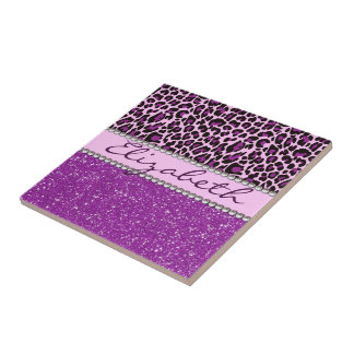 Personalized Purple Leopard Print Glitter Small Square Tile