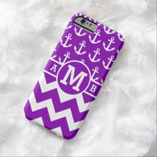 Personalized Purple Nautical Anchors Pattern Barely There iPhone 6 Case