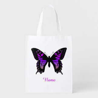 Personalized Purple Ombre Wing Butterfly Reusable Grocery Bag
