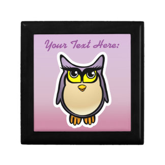 Personalized Purple Owl Cartoon With Big Eyelashes Small Square Gift Box