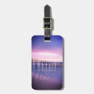 Personalized Purple & Pink Beach Geometric Design Luggage Tag
