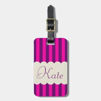 Personalized Purple Pink Stripes Polka Dots Design Bag Tag