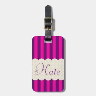 Personalized Purple Pink Stripes Polka Dots Design Luggage Tag
