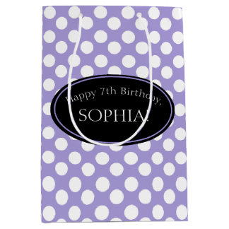 Personalized Purple Polka Dot Gift Bag