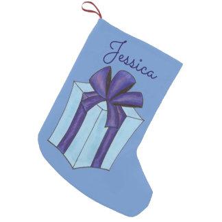 Personalized Purple Present Christmas Stocking