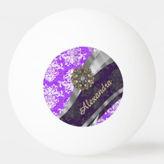 Personalized purple pretty girly damask pattern ping pong ball