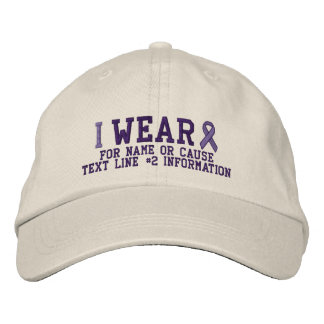 Personalized Purple Ribbon Awareness Embroidery Embroidered Hats