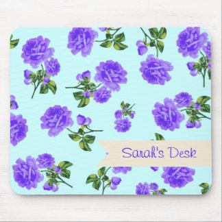 Personalized purple roses blue mousemat