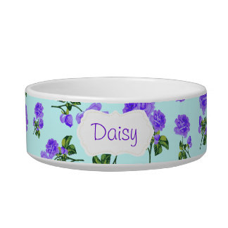 Personalized purple roses pet bowl - blue