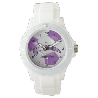 Personalized Purple Soccer Ball Watch