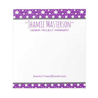 Personalized Purple Stars Notepad