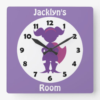 Personalized Purple Superhero Girl Kids Room Wall Clock
