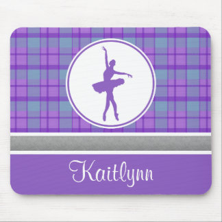 Personalized Purple Sweetheart Plaid Dancer Mouse Pad
