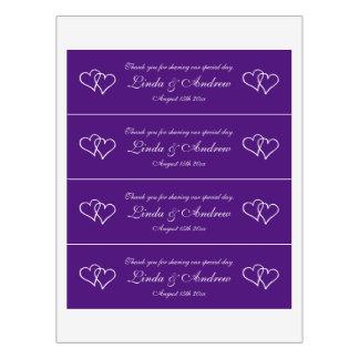 Personalized purple two heart wedding party favor water bottle label