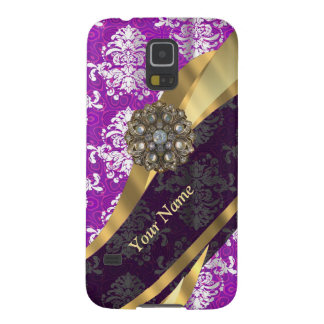 Personalized purple vintage damask pattern galaxy s5 cases